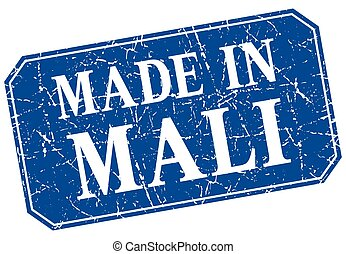 made in Mali blue square grunge stamp