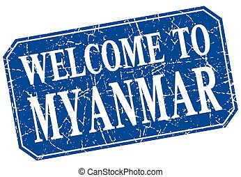 welcome to Myanmar blue square grunge stamp