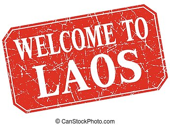 welcome to Laos red square grunge stamp