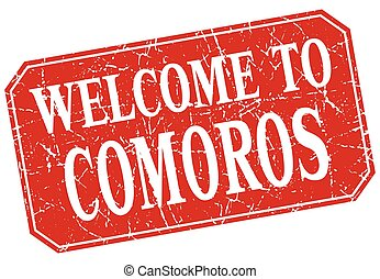 welcome to Comoros red square grunge stamp