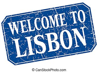 welcome to Lisbon blue square grunge stamp