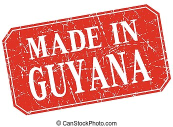made in Guyana red square grunge stamp