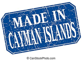 made in Cayman Islands blue square grunge stamp