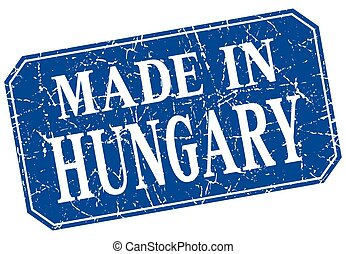 made in Hungary blue square grunge stamp