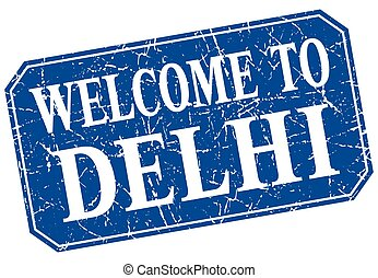 welcome to Delhi blue square grunge stamp