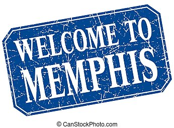 welcome to Memphis blue square grunge stamp