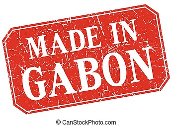 made in Gabon red square grunge stamp