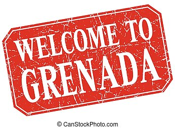 welcome to Grenada red square grunge stamp