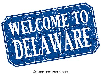 welcome to Delaware blue square grunge stamp