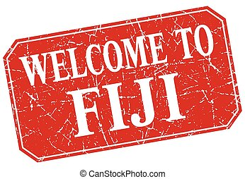 welcome to Fiji red square grunge stamp