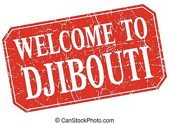 welcome to Djibouti red square grunge stamp