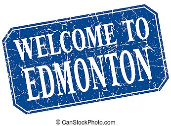 welcome to Edmonton blue square grunge stamp