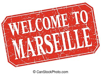 welcome to Marseille red square grunge stamp