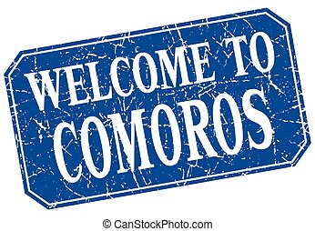 welcome to Comoros blue square grunge stamp