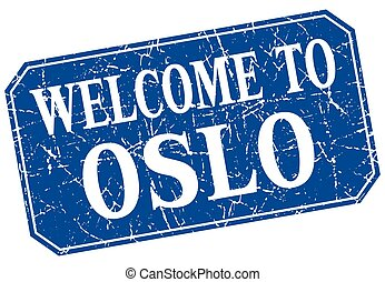 welcome to Oslo blue square grunge stamp