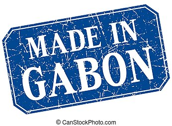 made in Gabon blue square grunge stamp