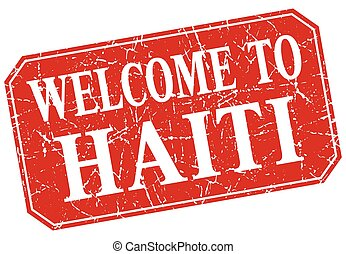 welcome to Haiti red square grunge stamp