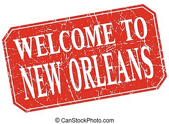 welcome to New Orleans red square grunge stamp