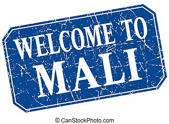 welcome to Mali blue square grunge stamp