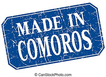 made in Comoros blue square grunge stamp