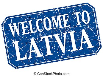 welcome to Latvia blue square grunge stamp