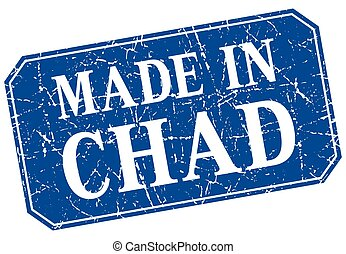 made in Chad blue square grunge stamp