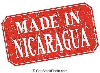 made in Nicaragua red square grunge stamp