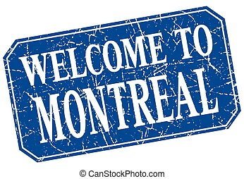 welcome to Montreal blue square grunge stamp