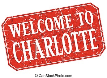 welcome to Charlotte red square grunge stamp