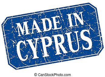 made in Cyprus blue square grunge stamp
