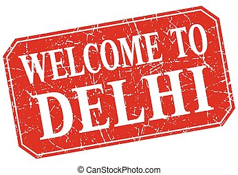 welcome to Delhi red square grunge stamp
