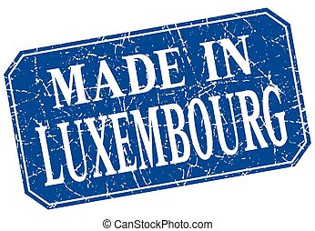made in Luxembourg blue square grunge stamp