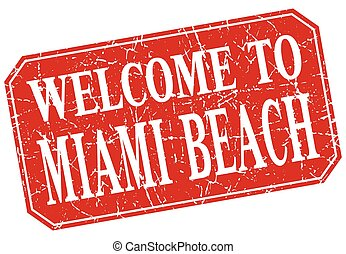 welcome to Miami Beach red square grunge stamp