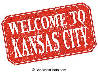 welcome to Kansas City red square grunge stamp