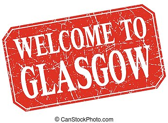 welcome to Glasgow red square grunge stamp
