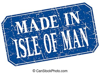 made in Isle Of Man blue square grunge stamp