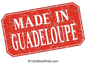 made in Guadeloupe red square grunge stamp