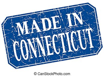 made in Connecticut blue square grunge stamp