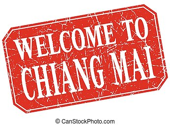 welcome to Chiang mai red square grunge stamp
