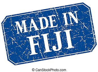 made in Fiji blue square grunge stamp