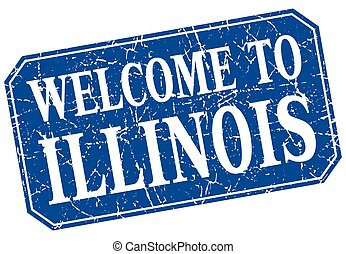 welcome to Illinois blue square grunge stamp