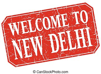 welcome to New Delhi red square grunge stamp