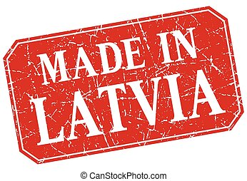 made in Latvia red square grunge stamp