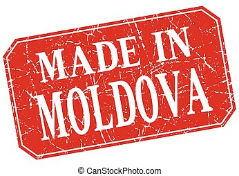 made in Moldova red square grunge stamp
