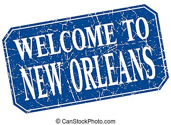 welcome to New Orleans blue square grunge stamp
