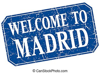 welcome to Madrid blue square grunge stamp