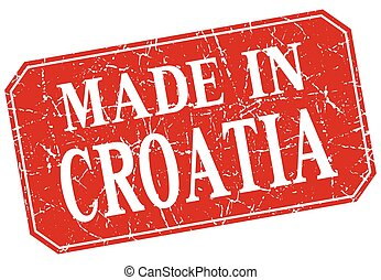made in Croatia red square grunge stamp
