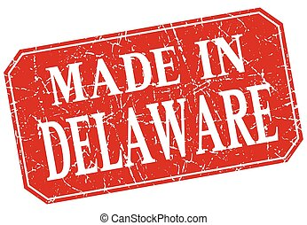 made in Delaware red square grunge stamp