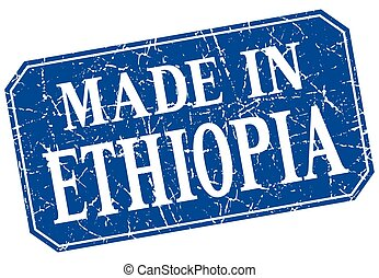made in Ethiopia blue square grunge stamp