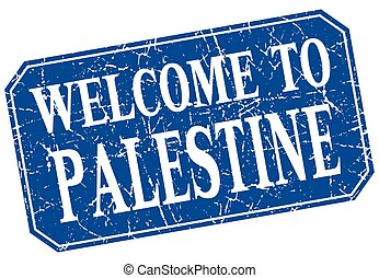 welcome to Palestine blue square grunge stamp